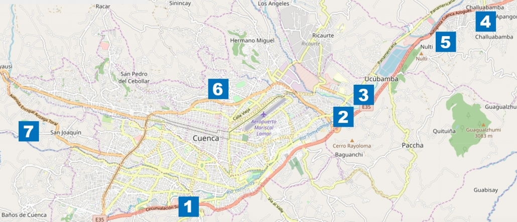 Cuenca Ecuador Outer Neighborhood Map