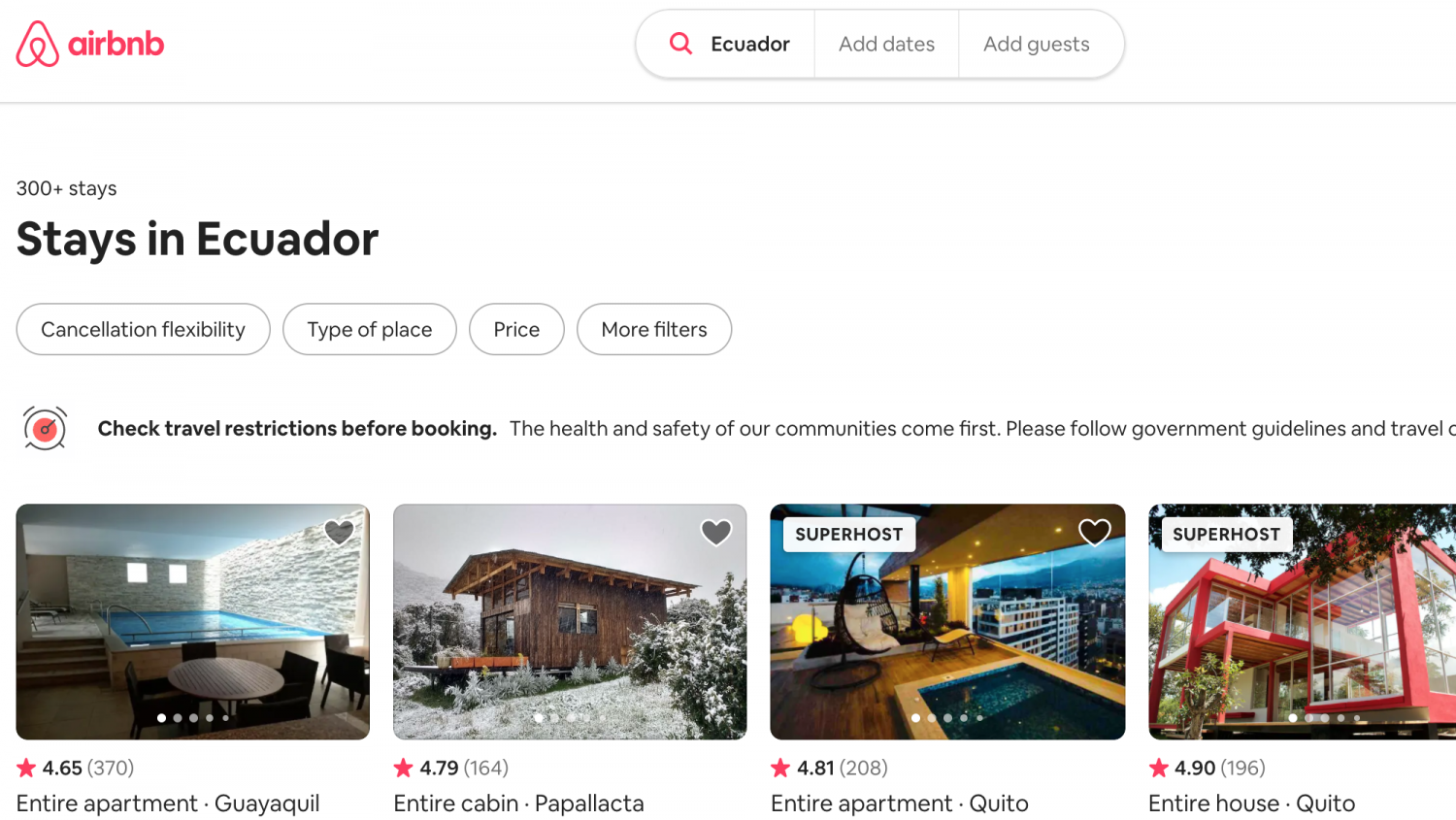 Cost of living in Ecuador, AirBnB Ecuador Stays
